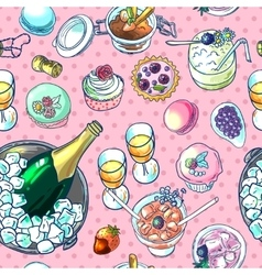 Champagne and sweets vector