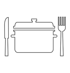 Cooking pot with fork and knife icon vector