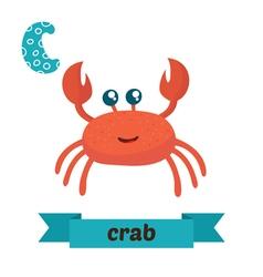 Crab c letter cute children animal alphabet in vector