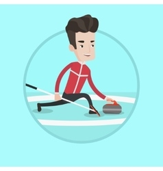 Curling player playing on rink vector