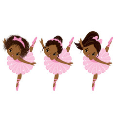 cute little african american ballerinas vector image vector image