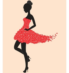 Dancer girl in dress of roses vector image