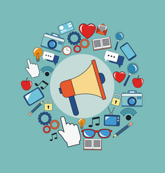 digital marketing megaphone social media image vector image