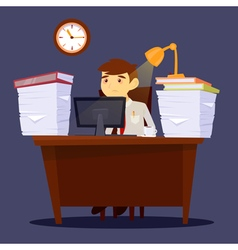 Exhausted businessman stress at work office life vector