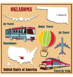 Flat map of oklahoma vector