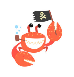 Funny cartoon crab pirate smoking pipe and holding vector