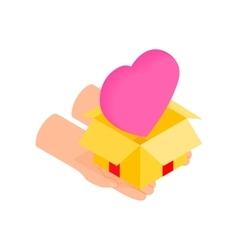 Gift box with a pink heart isometric 3d icon vector image vector image