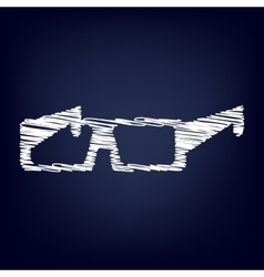 Glasses icon with chalk effect vector