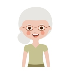 Half body elderly woman with glasses vector