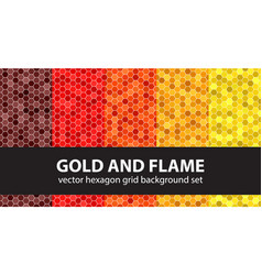Hexagon pattern set gold and flame seamless vector