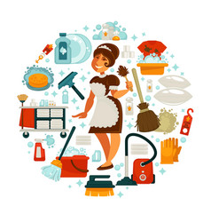 house cleaning housewife or housemaid and vector image