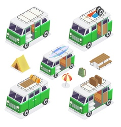 Isometric camper set with different vans vector