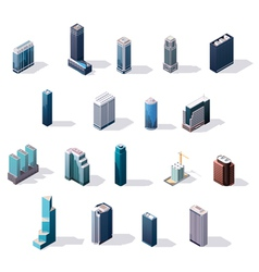 isometric city center buildings set vector image vector image