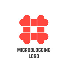 Microblogging logo with hashtag from hearts vector