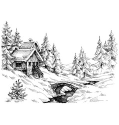 mountain cabin in the woods near river vector image vector image