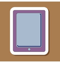 Paper sticker on background of tablet gadget vector