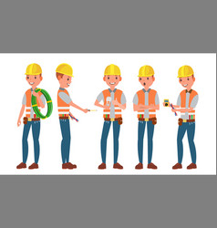 professional electrician different poses vector image vector image