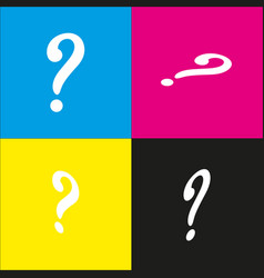 Question mark sign white icon with vector