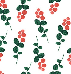 Red bilberry watercolor seamless pattern vector