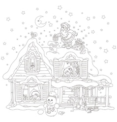 Santa on the housetop with gifts vector