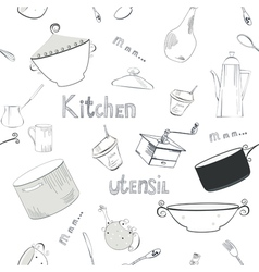 seamless wallpaper with utensils vector image vector image