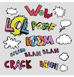set of comic text in pop art vector image