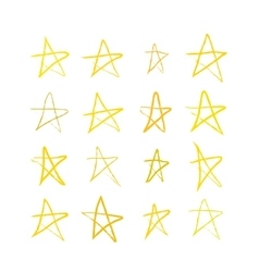 Set of golden hand-drawn stars on white vector