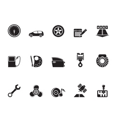 Silhouette car parts and characteristics icons vector image