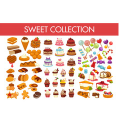 sweet collection of delicious desserts and vector image vector image