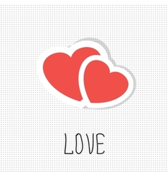 Two paper hearts card with place for text vector