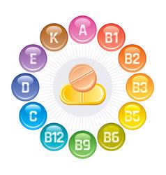 Vitamins icons rainbow color glossy balls logo vector