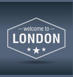 Welcome to london hexagonal white vintage label vector