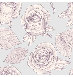 Seamless pattern with engraved roses vector