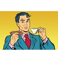 Retro businessman eating breakfast coffee and vector