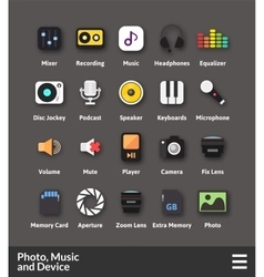 Flat material design icons set vector