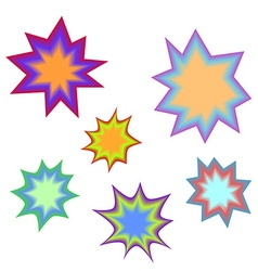 Star bursting boomcomic book explosion set hand vector
