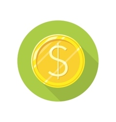 Dollar gold coin icon in flat style design vector
