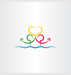 People in water holding heart love icon vector