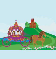 Princess with prince in the carriage vector