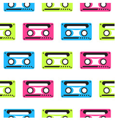 Audio tape neon seamless pattern vector