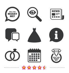Wedding dress icon bride and groom rings symbol vector