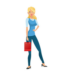 beauty woman standing red gift bag shopping vector image