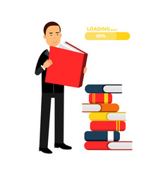 Businessman character reading books and getting vector