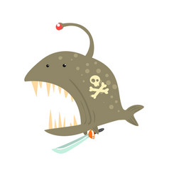 Funny cartoon angler fish with pirate sign on its vector