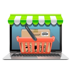 Computer shopping concept vector