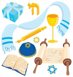 Bar or mat mitzvah icons vector