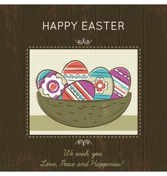 Easter card with nest full of easter eggs vector