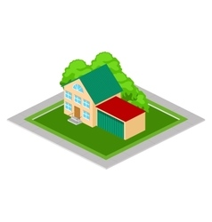 Isometric house with garage vector