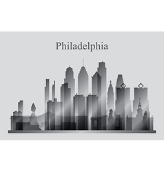 Philadelphia city skyline silhouette in grayscale vector