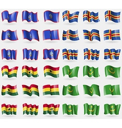 Guam aland ghana mauritania set of 36 flags of the vector